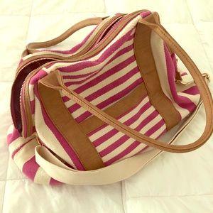 Canvas striped duffel travel bag